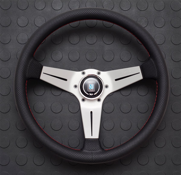 Nardi Deep Corn Steering Wheel 350MM Black Perforated Leather With White Spokes For Miata MX5 MX-5 ALL YEARS JDM Roadster : REV9 Autosport