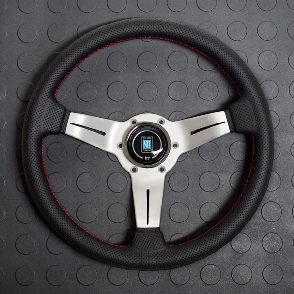 Nardi Deep Corn Steering Wheel 330MM Black Perforated Leather With White Spokes For Miata MX5 MX-5 ALL YEARS JDM Roadster : REV9 Autosport