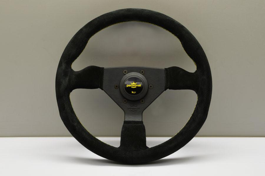 Personal Grinta Steering Wheel 330MM Black Suede With Black Spokes