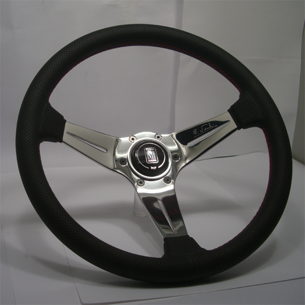 Nardi Deep Corn 350MM Black Leather With Polished Spokes