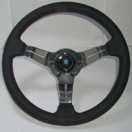 Nardi Deep Corn 330MM Black Leather With Polished Spokes